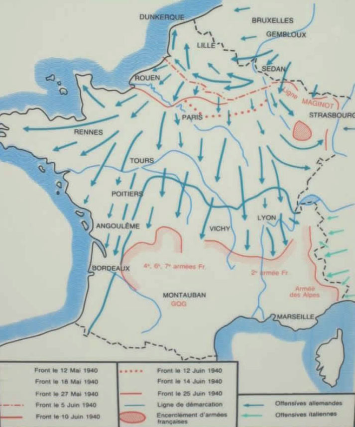 carte de l'invasion allemande en France en juin1940