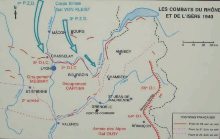 carte des combats du Rhône et de l'Isère en France 1940